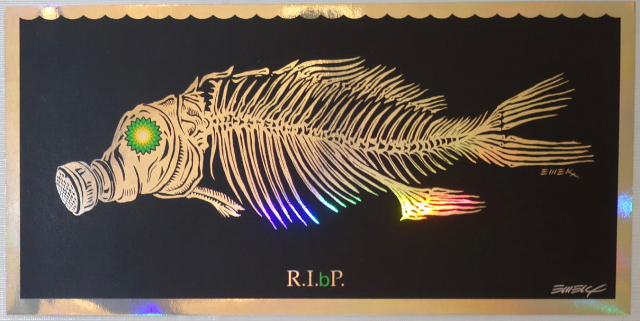 2010 R.I.(b)P. - Rest In Petroleum Foil Silkscreen Handbill by Emek