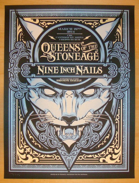 2014 Nine Inch Nails - Christchurch Concert Poster by Hydro74