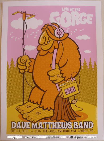 2007 Dave Matthews Band - Gorge Concert Poster by Methane