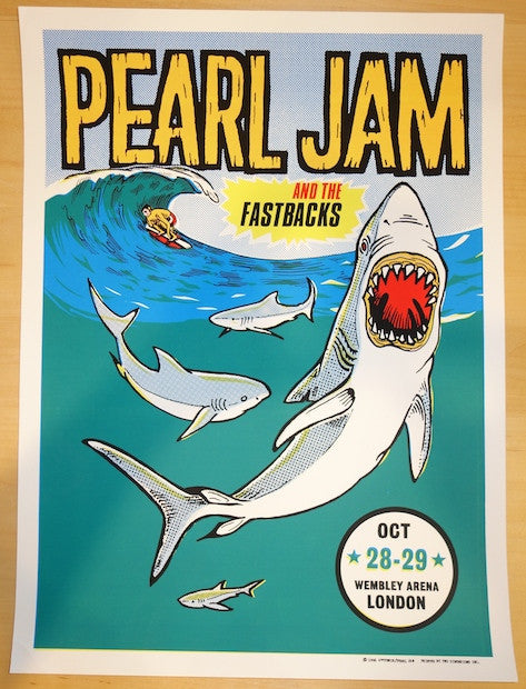 1996 Pearl Jam - London Silkscreen Concert Poster by Ames