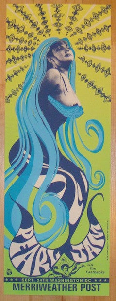 1996 Pearl Jam - Merriweather Silkscreen Concert Poster by Ames