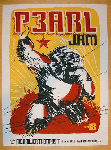 1998 Pearl Jam - Merriweather Silkscreen Concert Poster by Ames