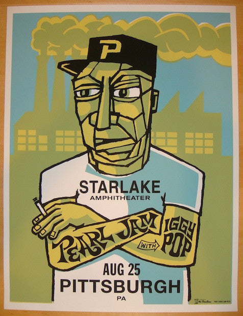 1998 Pearl Jam - Pittsburgh Silkscreen Concert Poster by Ames