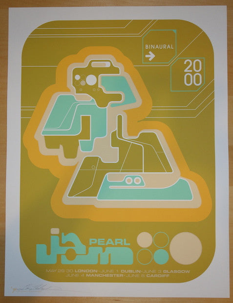 2000 Pearl Jam - UK/Ireland Silkscreen Concert Poster by Ames AP