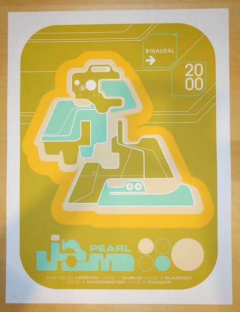 2000 Pearl Jam - UK/Ireland Silkscreen Concert Poster by Ames