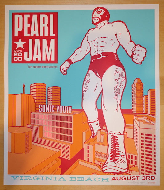 2000 Pearl Jam - Virginia Beach Silkscreen Concert Poster by Ames AP
