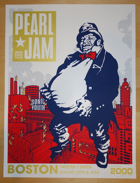 2000 Pearl Jam - Boston Silkscreen Concert Poster by Ames AP