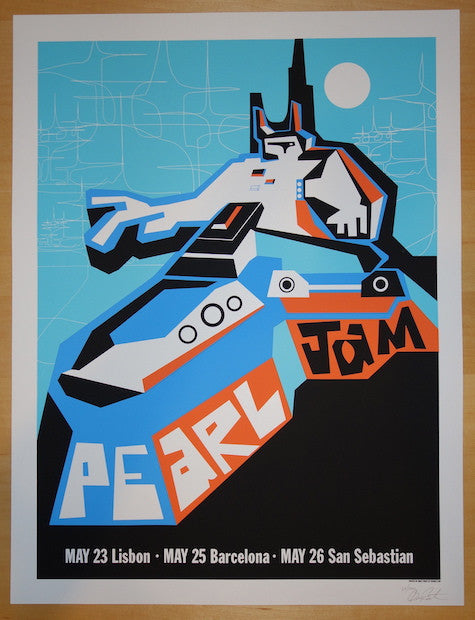 2000 Pearl Jam - Portugal/Spain Silkscreen Concert Poster by Ames AP