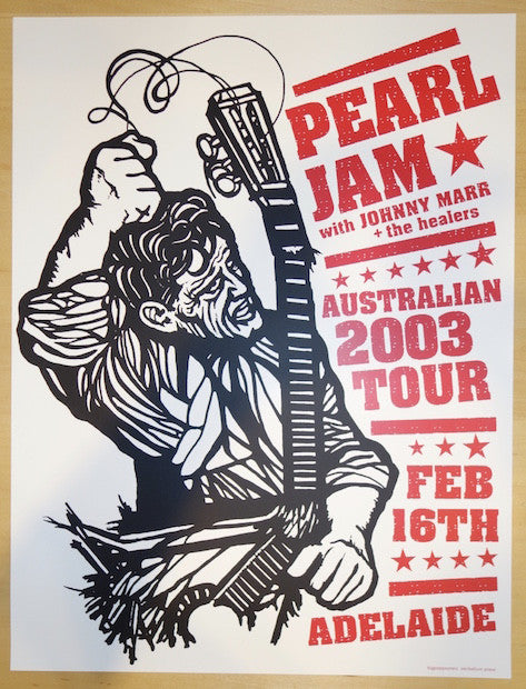 2003 Pearl Jam - Adelaide Silkscreen Concert Poster by Ames