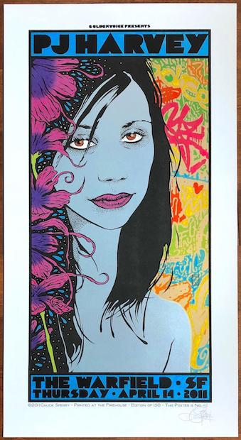 2011 PJ Harvey - San Francisco Silkscreen Concert Poster by Chuck Sperry