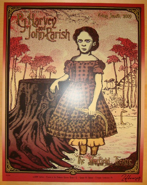 2009 PJ Harvey - Warfield Concert Poster by Zoltron & Firehouse