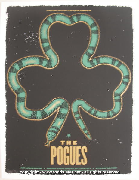 2006 The Pogues Silkscreen Concert Poster by Todd Slater