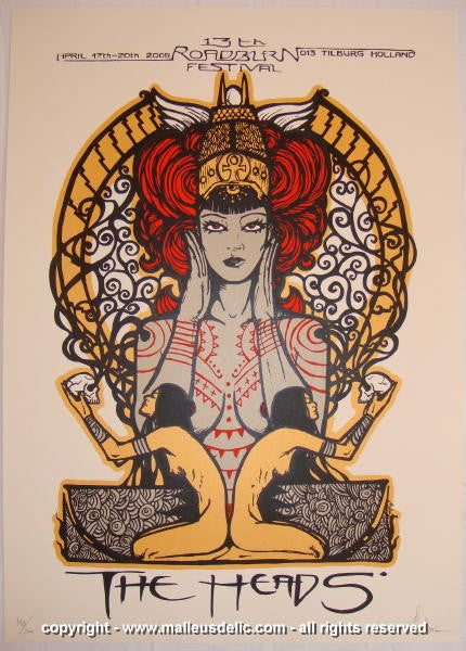 2008 The Heads - Roadburn Festival Concert Poster by Malleus