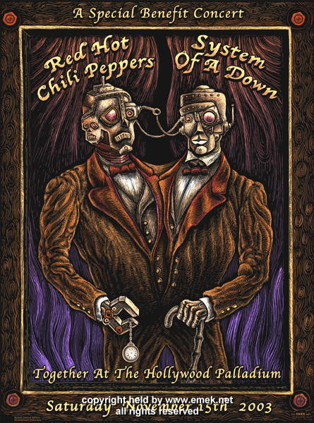 2003 Red Hot Chili Peppers w/ SOAD & Metallica - Hollywood Concert Poster by Emek