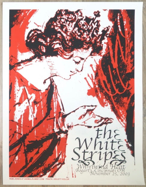 2003 The White Stripes - Cincinnati Silkscreen Concert Poster by Rob Jones