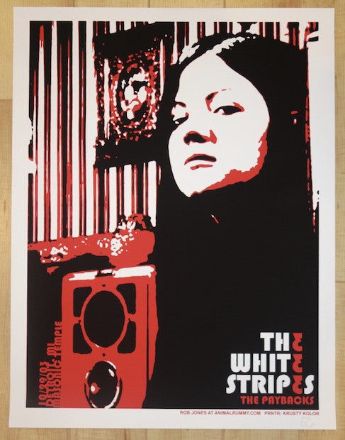 2003 The White Stripes - Detroit II Silkscreen Concert Poster by Rob Jones