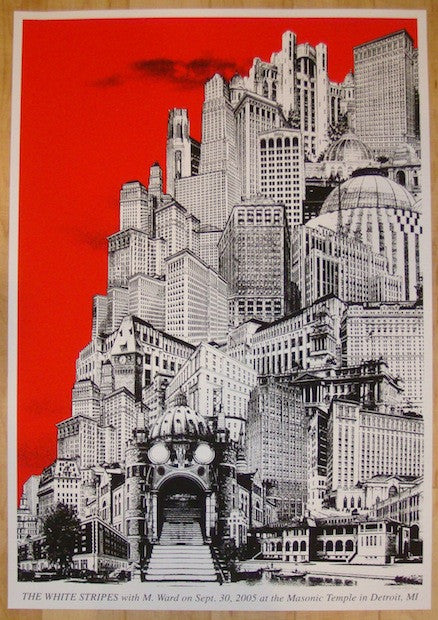 2005 The White Stripes - Detroit I Silkscreen Concert Poster by Rob Jones