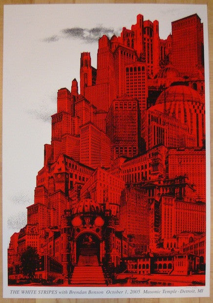 2005 The White Stripes - Detroit II Silkscreen Concert Poster by Rob Jones
