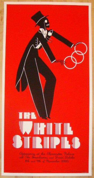 2005 The White Stripes - London II Silkscreen Concert Poster by Rob Jones