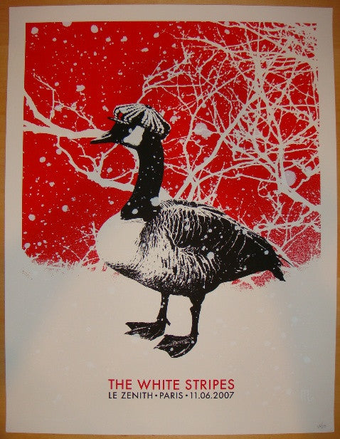 2007 The White Stripes - Paris Jack Concert Poster by Rob Jones