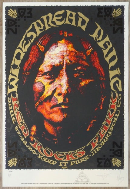 2003 Widespread Panic - Red Rocks Silkscreen Concert Poster by Jeff Wood