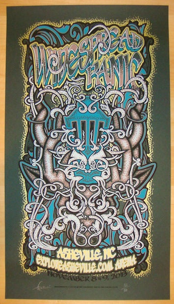 2013 Widespread Panic - Asheville Blue on Green Variant Concert Poster by JT Lucchesi