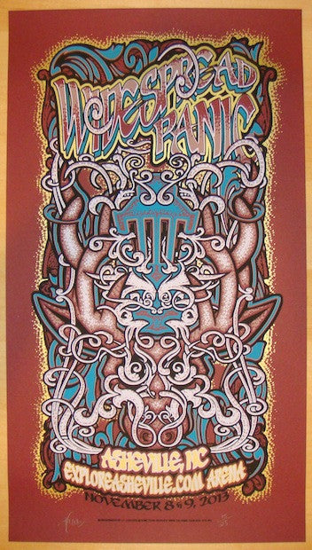 2013 Widespread Panic - Asheville Red Concert Poster by JT Lucchesi
