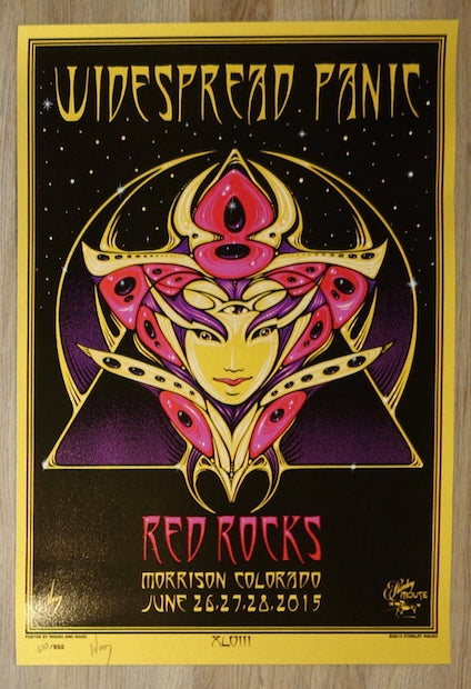 2015 Widespread Panic - Red Rocks Silkscreen Concert Poster by Jeff Wood & Mouse