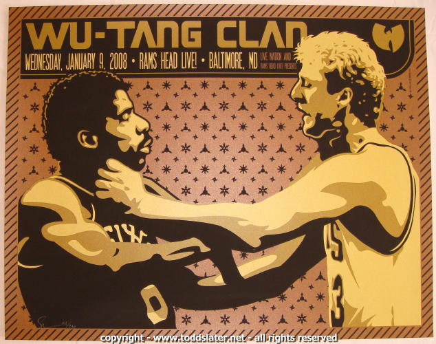 2008 Wu Tang Clan Silkscreen Concert Poster by Todd Slater