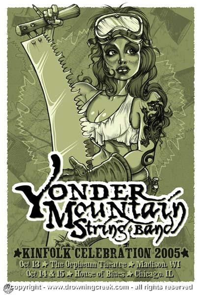 2005 Yonder Mountain String Band Silkscreen Concert Poster  Wood