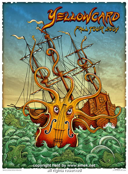 2004 Yellowcard - Fall Tour Silkscreen Poster by Emek