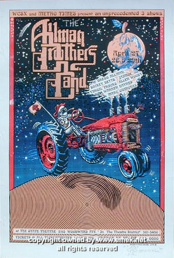 1994 Allman Brothers Band - Detroit Concert Poster by Emek