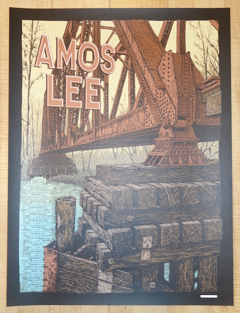 2017 Amos Lee - Summer Tour Silkscreen Concert Poster by Landland