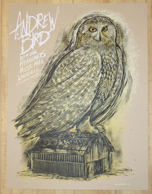 2016 Andrew Bird - Louisville Kraft Edition Silkscreen Concert Poster by Dan Grzeca