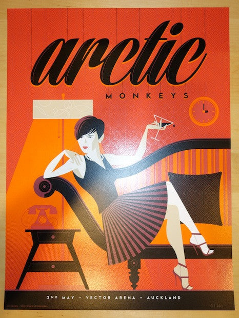 2014 Arctic Monkeys - Auckland Concert Poster by Tom Whalen