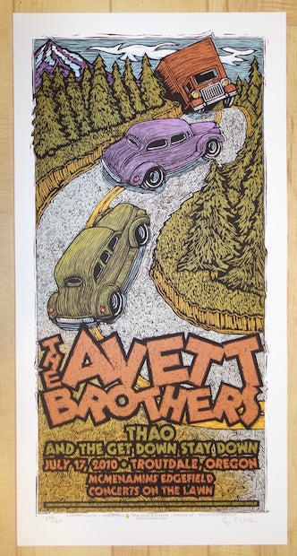 2010 The Avett Brothers - Troutdale Silkscreen Concert Poster by Gary Houston