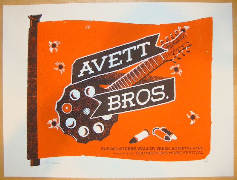 2011 Avett Brothers - Austin Concert Poster by Andrew Vastagh