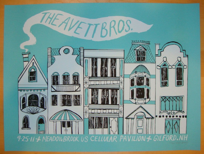 2011 Avett Brothers - Gilford Concert Poster by Kat Lamp