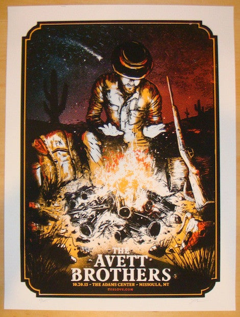 2013 Avett Brothers - Missoula Concert Poster by Zeb Love