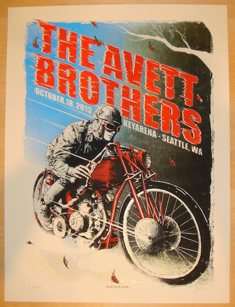 2013 Avett Brothers - Seattle Concert Poster by Zeb Love