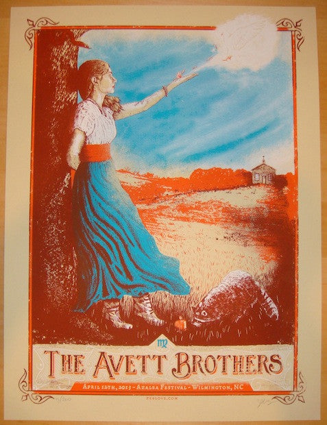 2013 Avett Brothers - Wilmington Concert Poster by Zeb Love