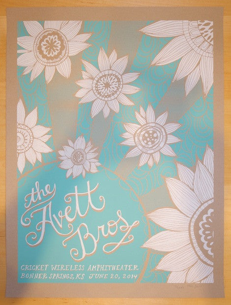 2014 Avett Brothers -  Bonner Springs Concert Poster by Kat Lamp