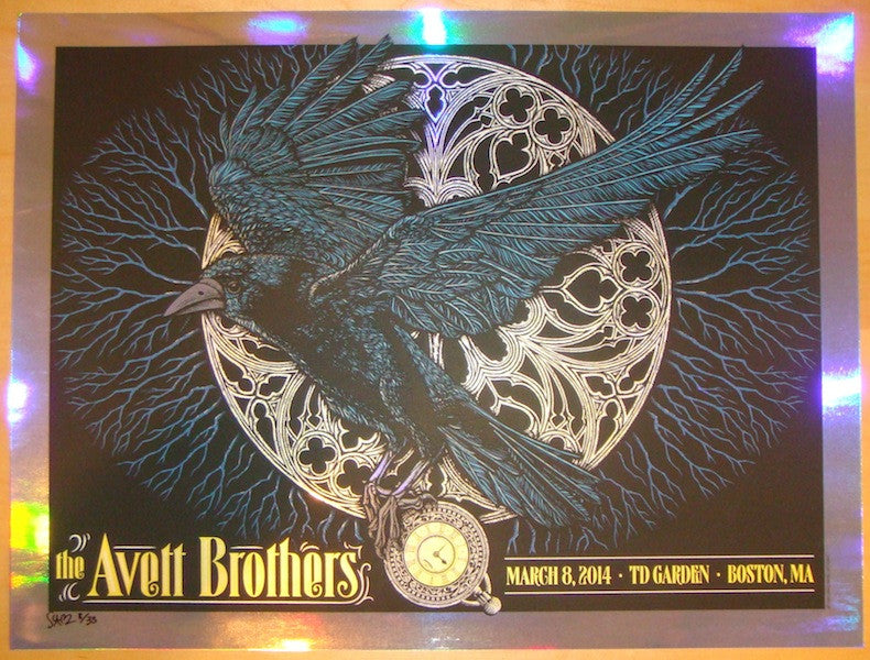 2014 Avett Brothers - Boston Foil Variant Poster by Todd Slater