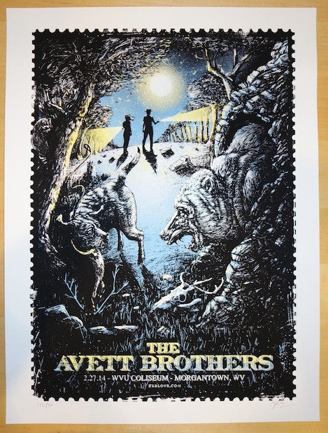 2014 Avett Brothers - Morgantown Concert Poster by Zeb Love