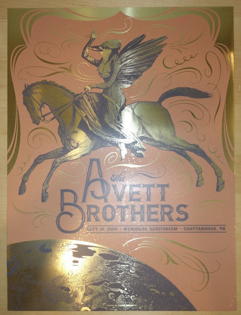 2015 Avett Brothers - Chattanooga Gold Foil Concert Poster by Status