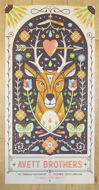 2015 The Avett Brothers - Columbia I Silkscreen Concert Poster by Half and Half