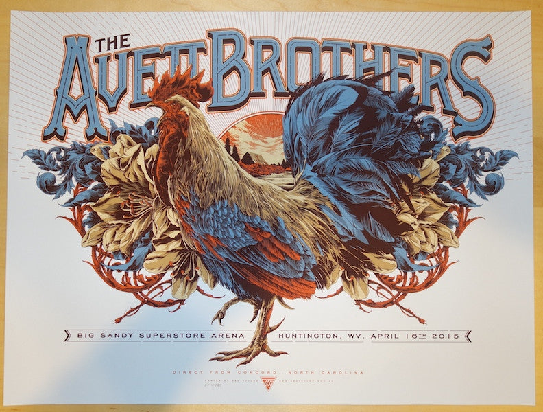 2015 The Avett Brothers - Huntington Silkscreen Concert Poster by Ken Taylor