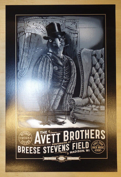 2015 Avett Brothers - Madison Silver Variant Concert Poster by Moctezuma