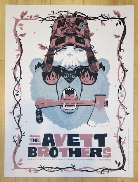 2015 The Avett Brothers - Springfield Silkscreen Concert Poster by Arcamone