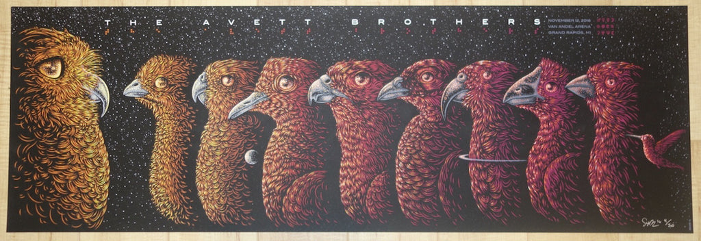2016 The Avett Brothers - Grand Rapids Silkscreen Concert Poster by Todd Slater